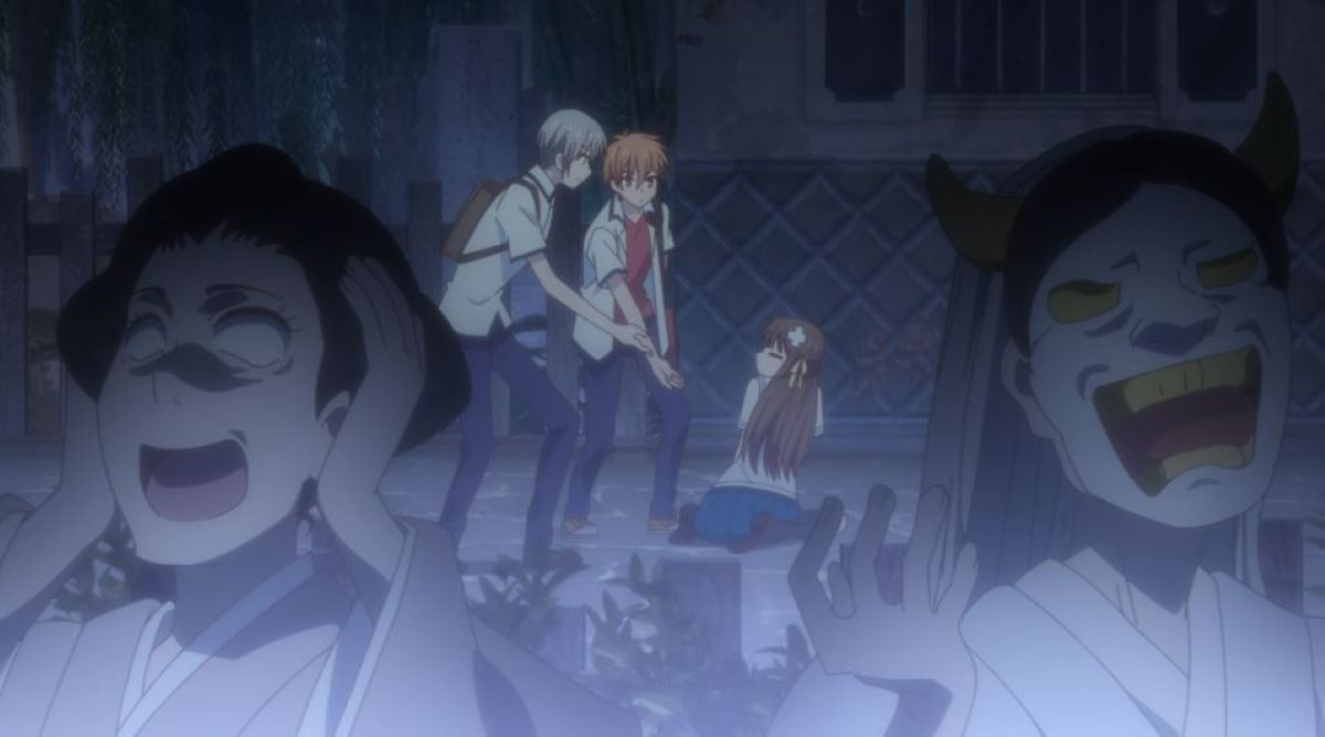 Yuki and Kyo offer their hands to the fallen Tohru in the haunted house | Haunted Houses | A Test of Courage