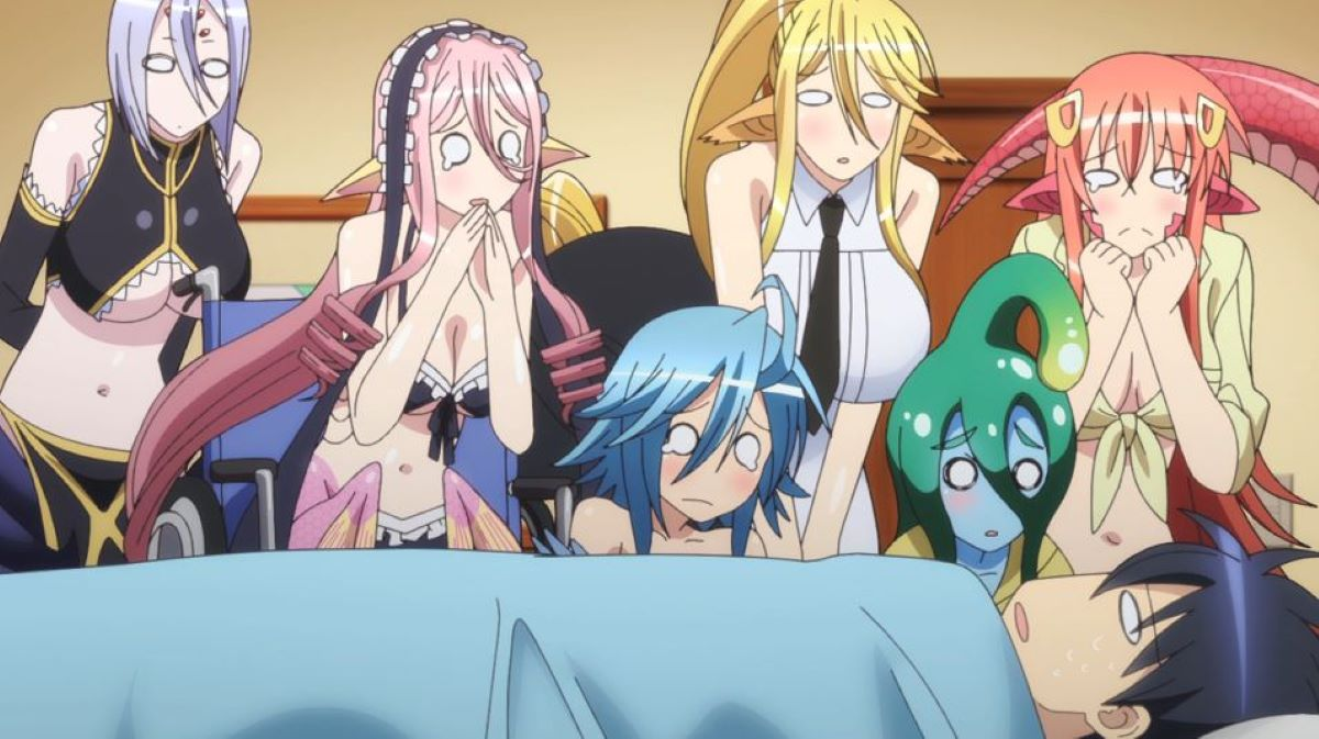 The monster girl's surrounding Kurusu Kimihito in bed | Monster Musume Everyday Life with Monster Girls | Monster Girl Anime to Watch Over Halloween