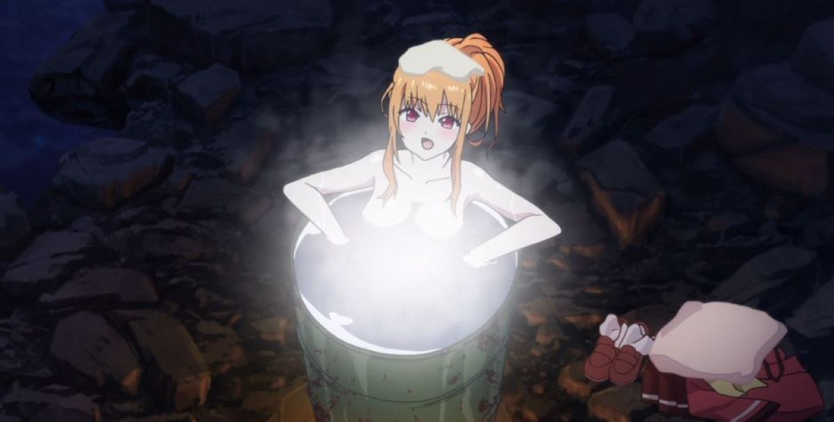 Yusa relaxes in a home-made bath while camping | Washing and Relaxing | The Importance of Bathing in Japan