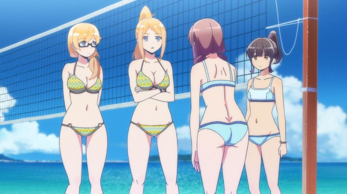Volleyball team by the net on the beach | Harukana Receive | Ecchi Sport Anime