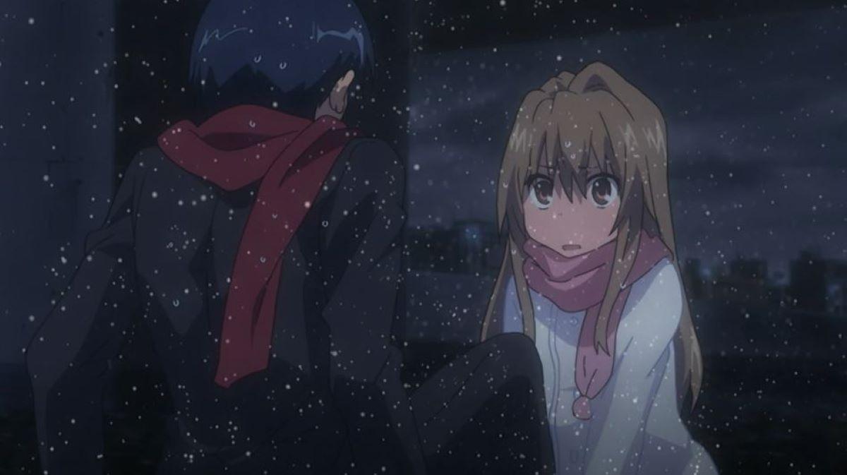 Taiga and Ryuuji in the river while it's snowing | Taiga Aisaka - Toradora! | Find Your Winter Waifu!