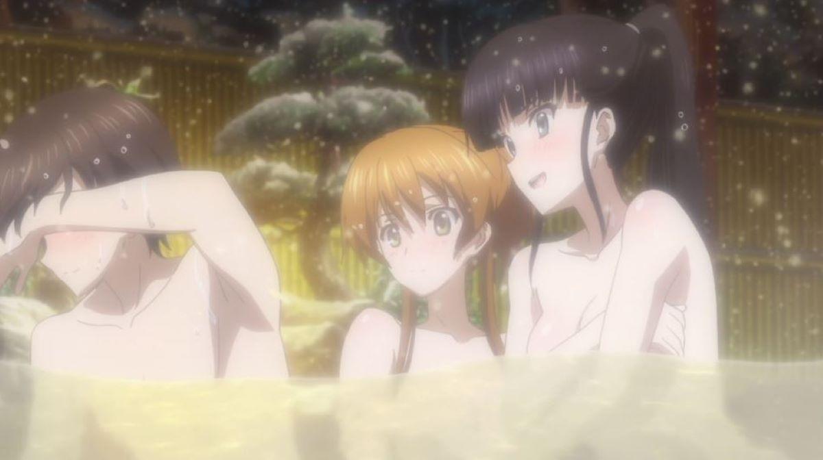 Kazusa, Setsuna and Haruki in a hot spring in the snow | Kazusa Touma - White Album 2 | Find Your Winter Waifu!