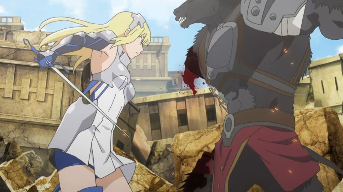 Ais in battle dress defeating a minotaur | Ais Wallenstein - Is It Wrong to Pick up Girls in a Dungeon? | An Anime Warrior Princess!