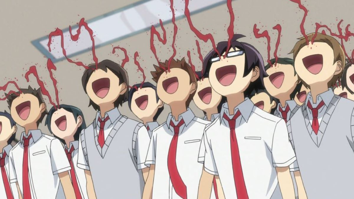 Mass nosebleed reaction to Akane not wearing a skirt   Pro-Wrestler Theory   The Nosebleed Trope