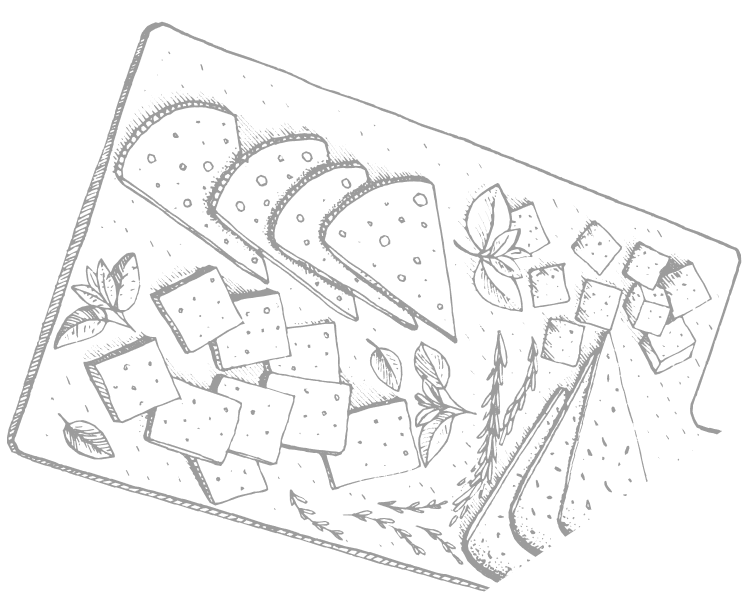 illustration of a cheese board.