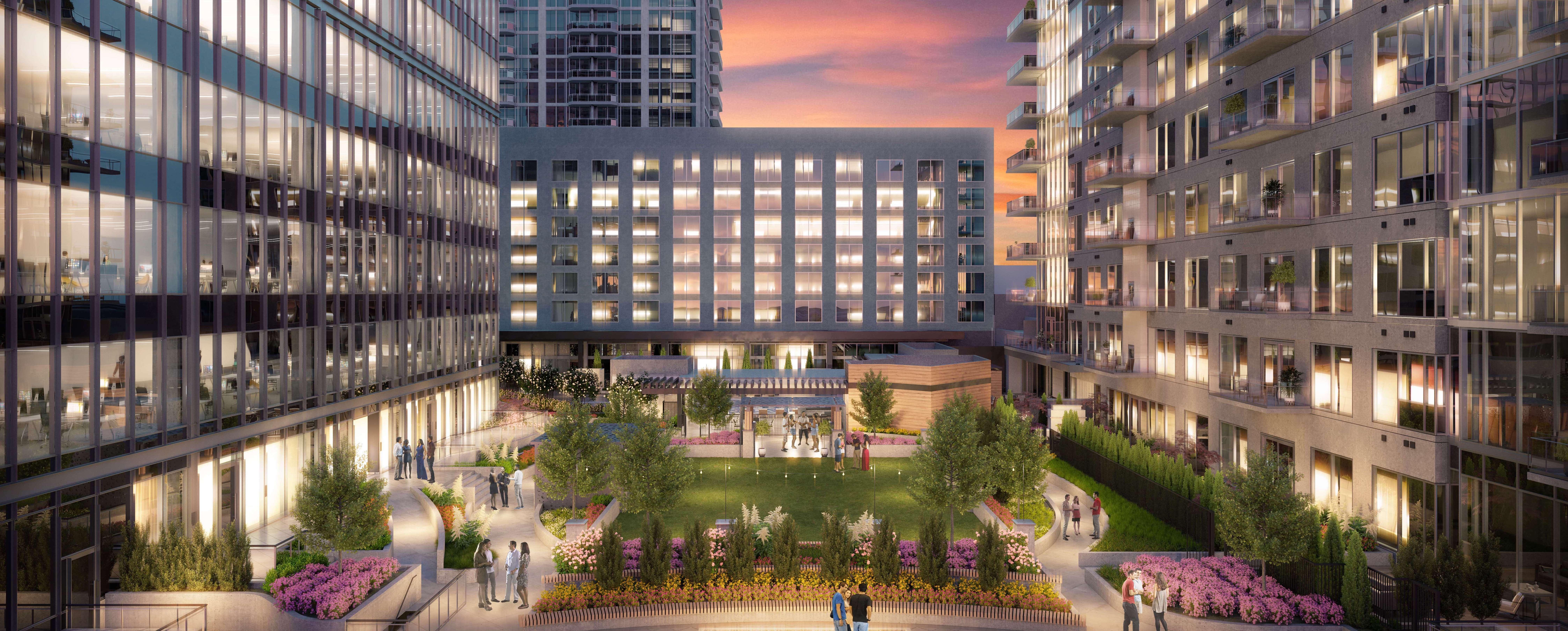 A dusk rendering of the Epicurean Atlanta courtyard.