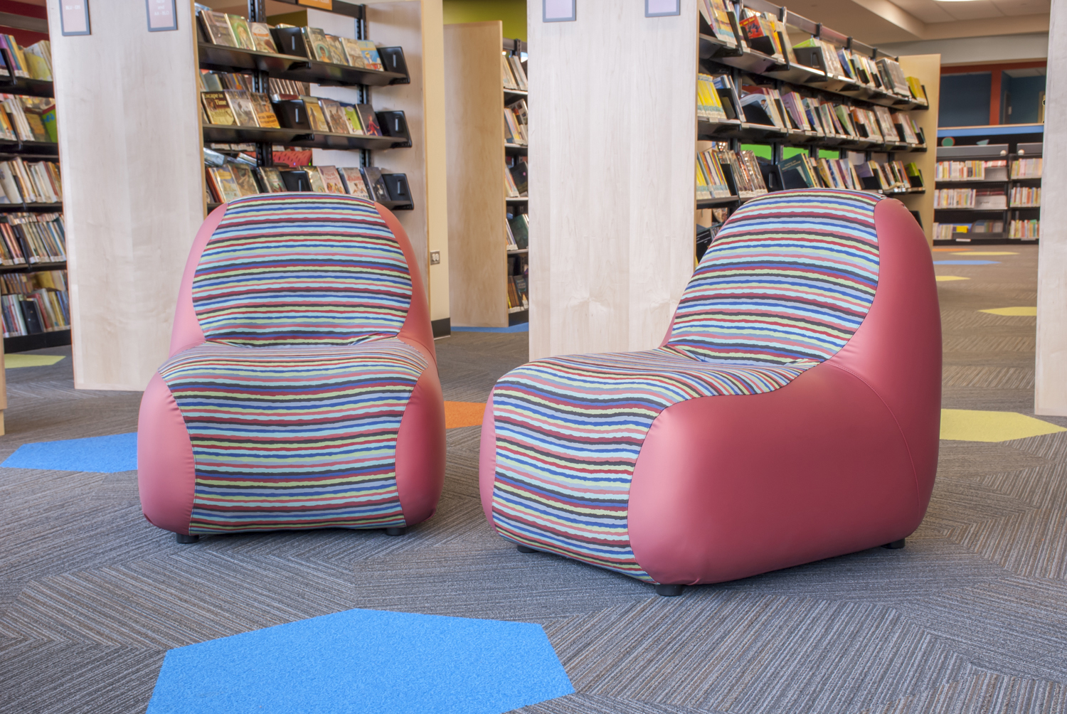 Blob chairs at Ela Area Public Library