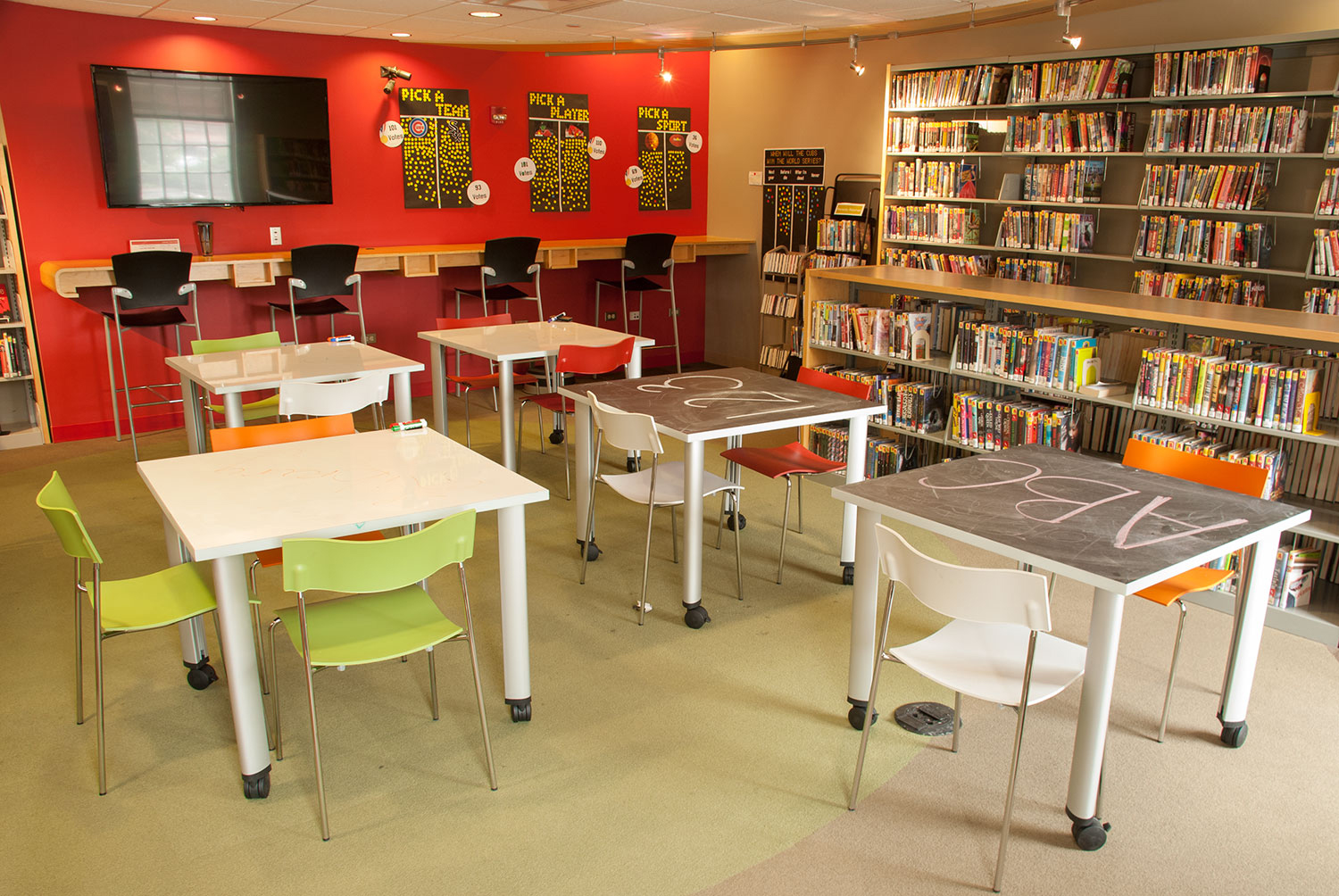 Vox Meeting tables at Hinsdale Public Library