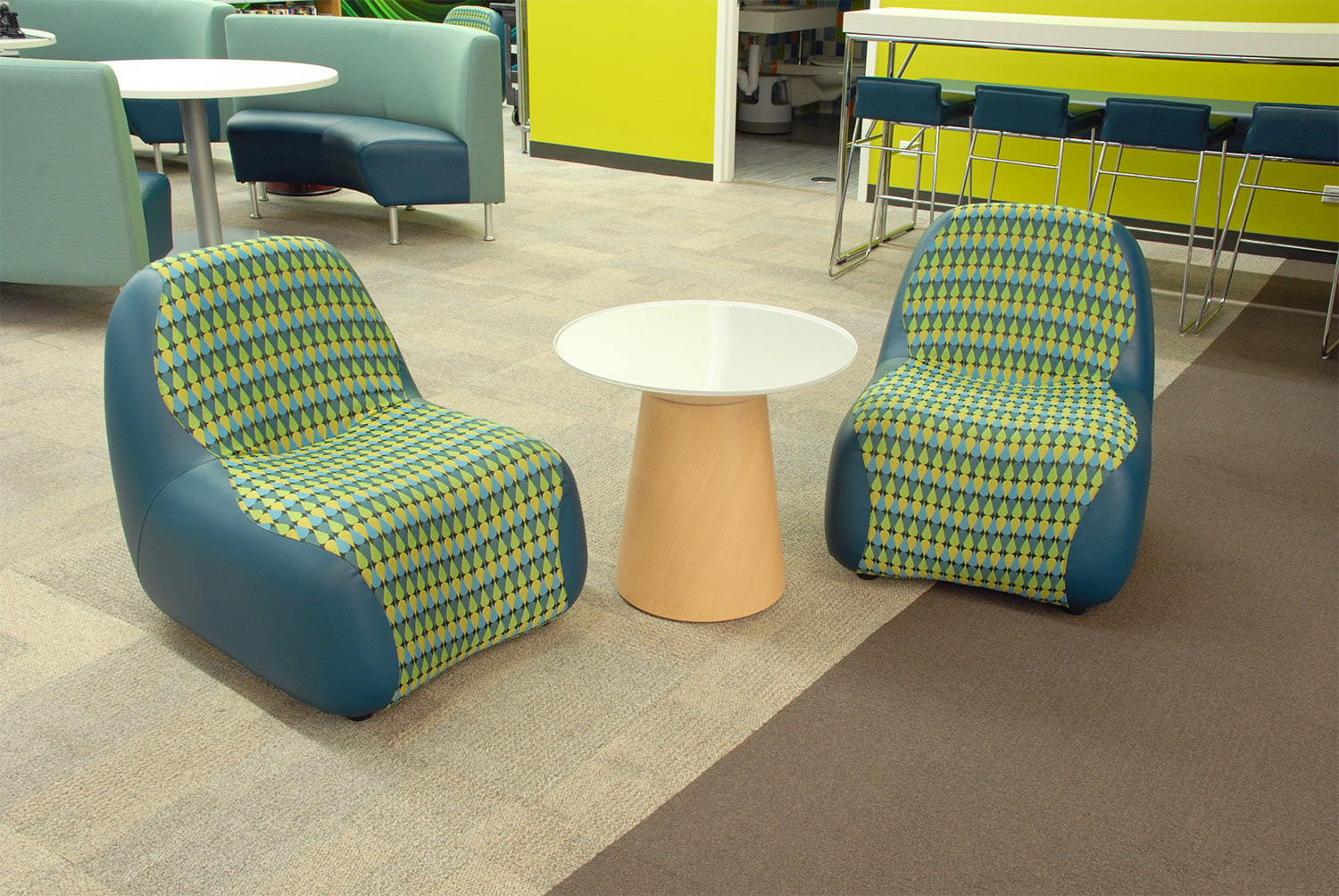 Blob chairs at Vernon Area Public Library