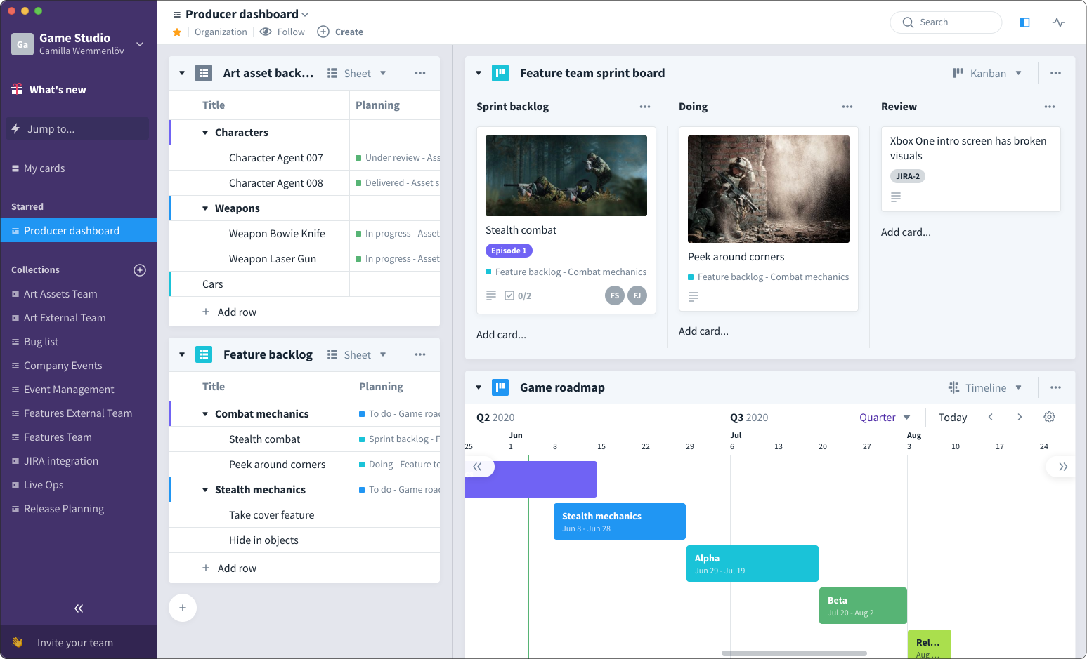 Favro is the most agile tool for game studios