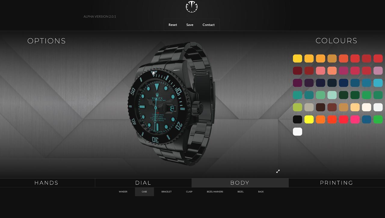 3D Watch Configurator Interface UI/UX Design