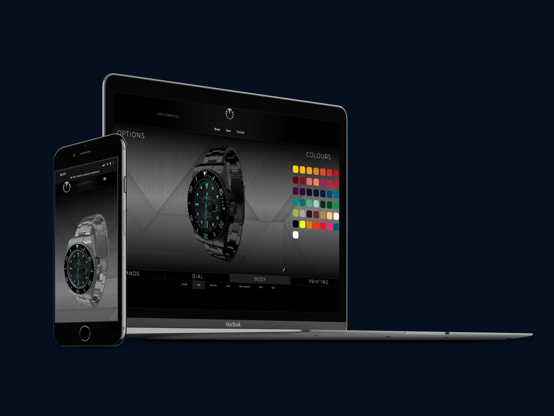 3D watch configurator interface design mobile & desktop
