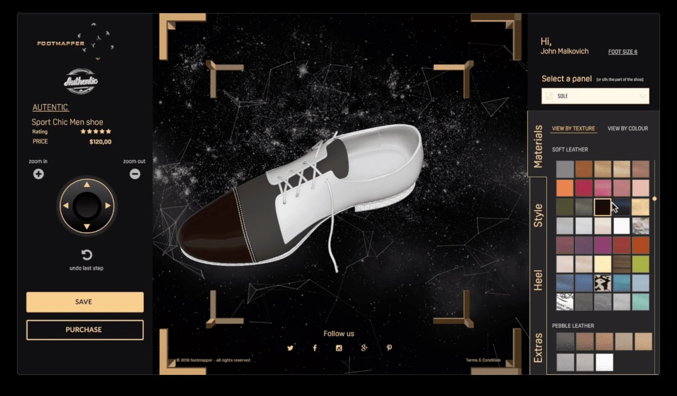 3D Footwear customiser interface design