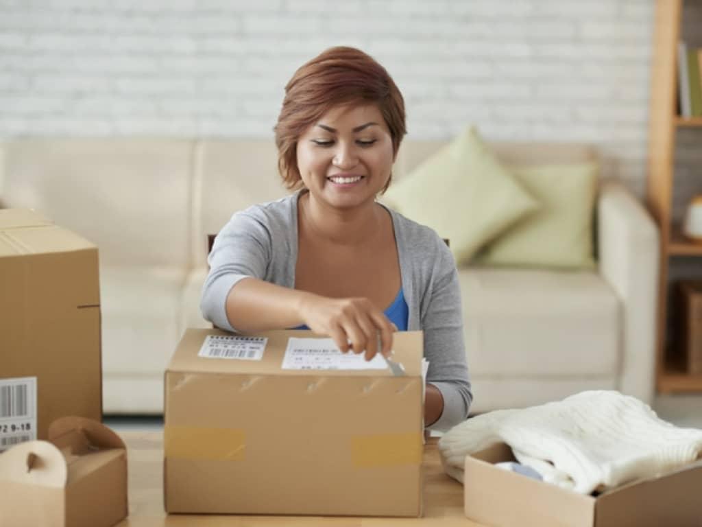 Women opening package Amazon