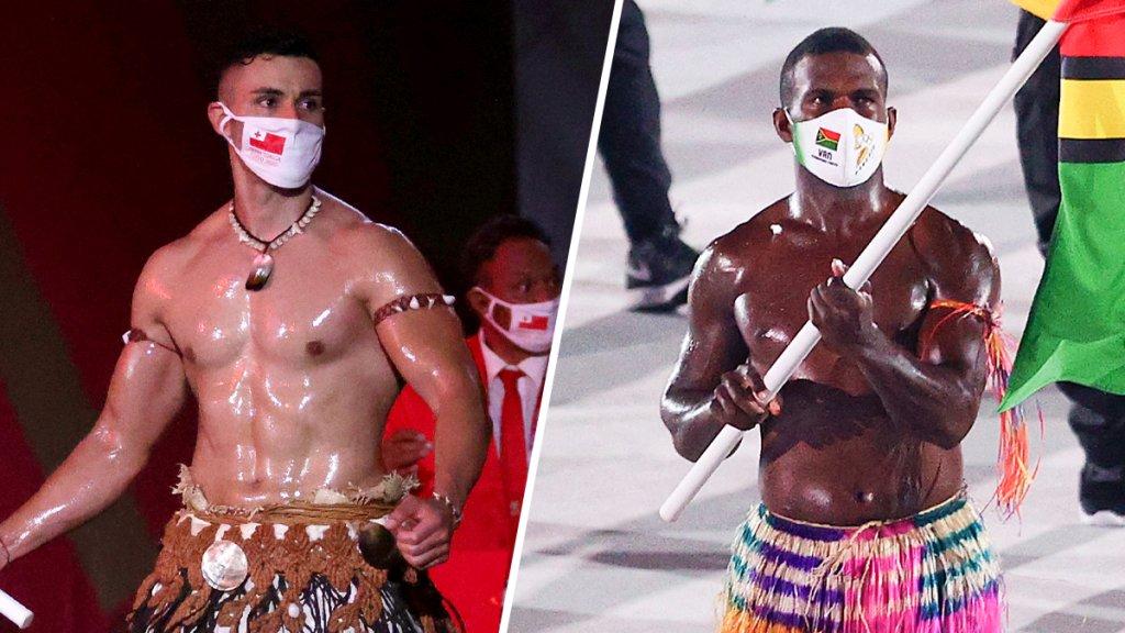 Tonga's shirtless flag bearer meets Vanuatu rival – sending Twitter fans into frenzy