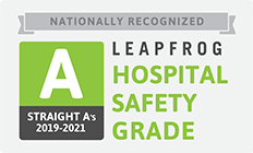 Symbol for and A grade from the nationall recognized Leapfrog Hospital Safety GradeGrade