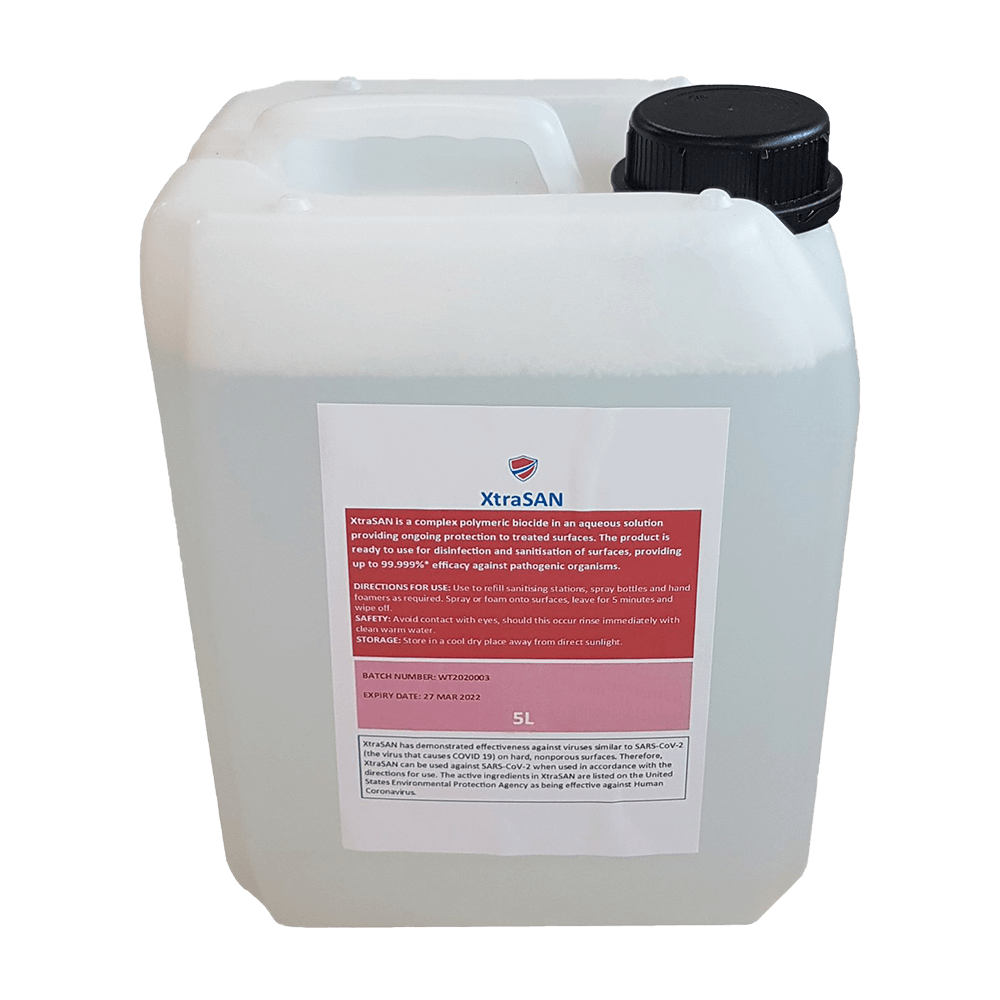 5L Antiviral & Antibacterial Hand & Surface Sanitiser Solution in Practical Container