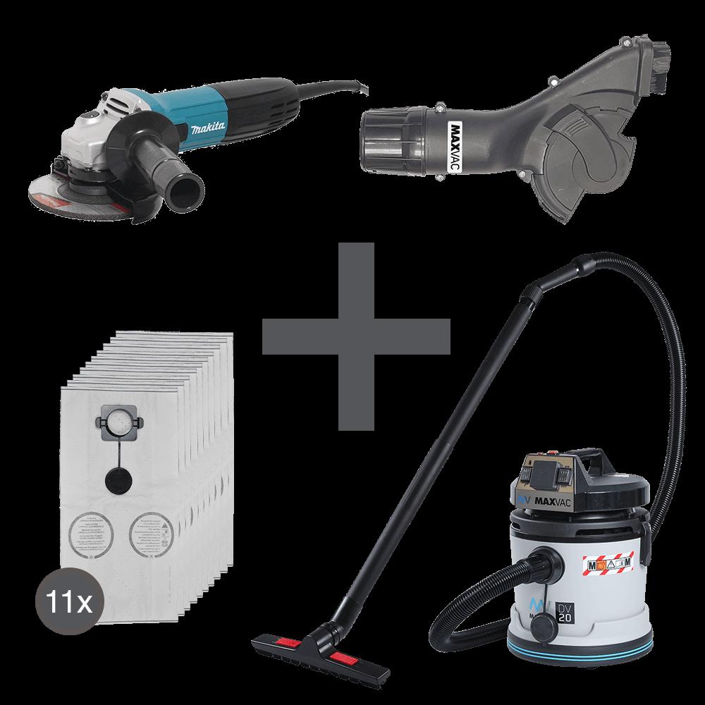 Angle Grinder, Dust Shroud & Vacuum Complete Package