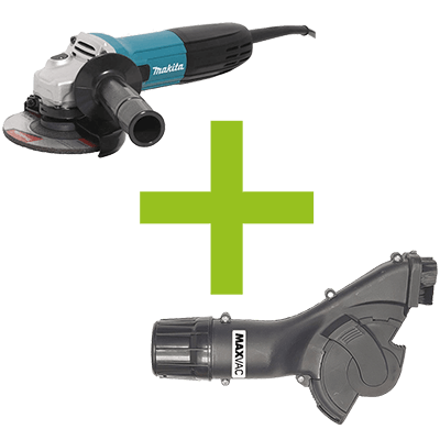 Makita Angle Grinder & MAXVAC Dust Shroud Package