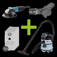 Makita Angle Grinder, MAXVAC Dust Shroud & DV35-MB Vacuum Complete Package