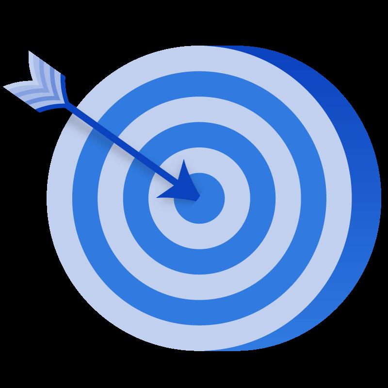 Arrow hitting a bullseye