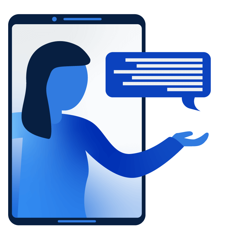 Illustration of person coming out of mobile device holding a chat bubble