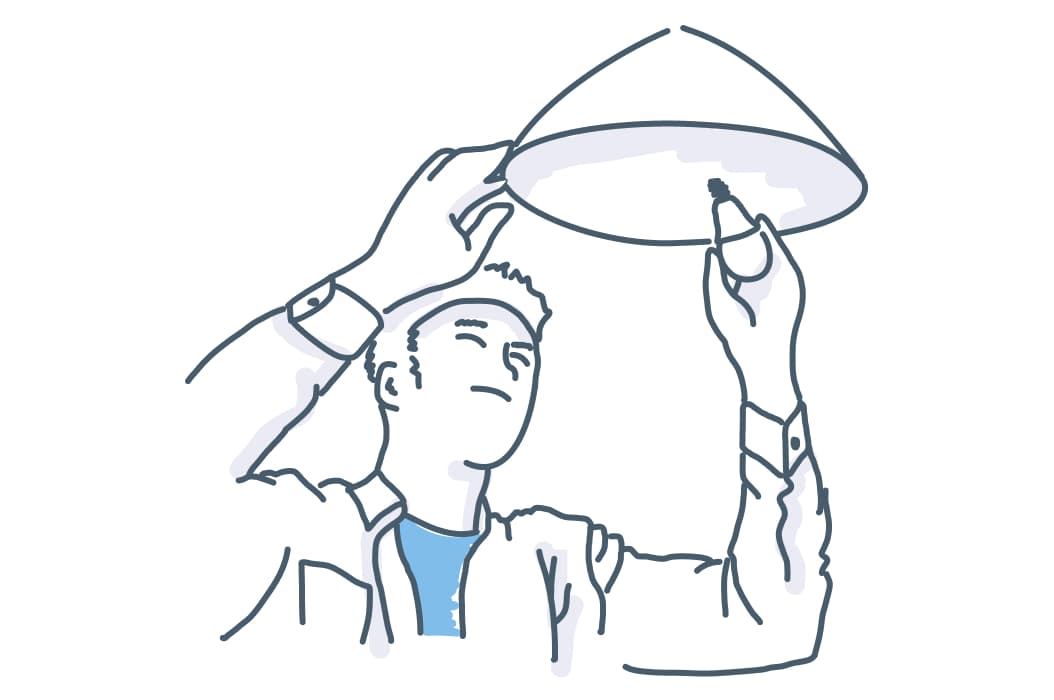 an illustration of a mynd repairman changing a light bulb