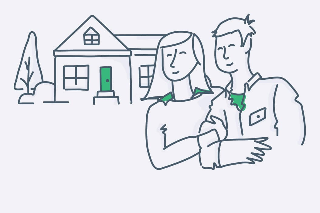 an illustration of a couple leasing a home from mynd