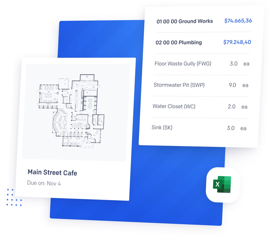 takeoff software showing blueprint and cost estimate
