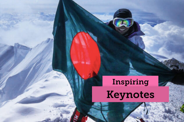 "Image of Wasfia Nazreen on Everest with the words ""Inspiring Keynotes"""