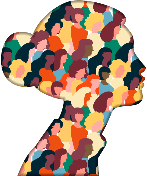 Paper cutout of a profile with diverse people