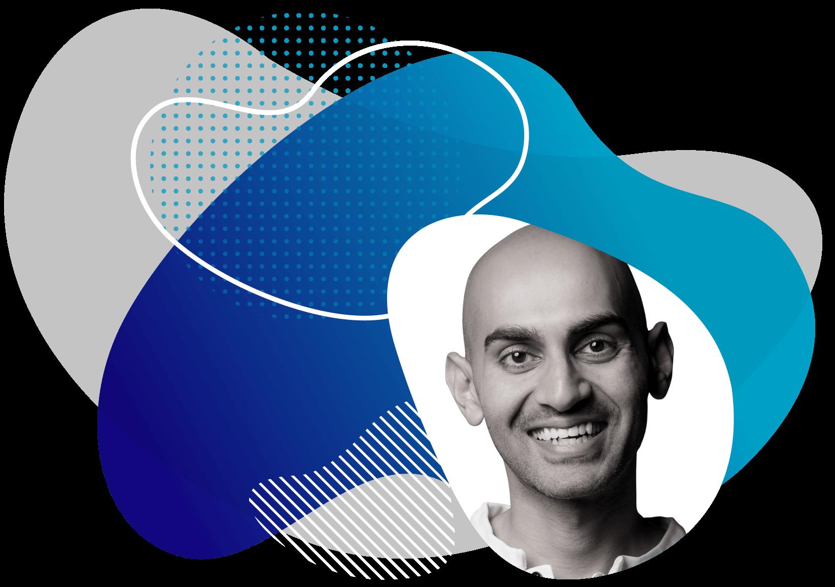 Neil Patel framed by a blue color splash.