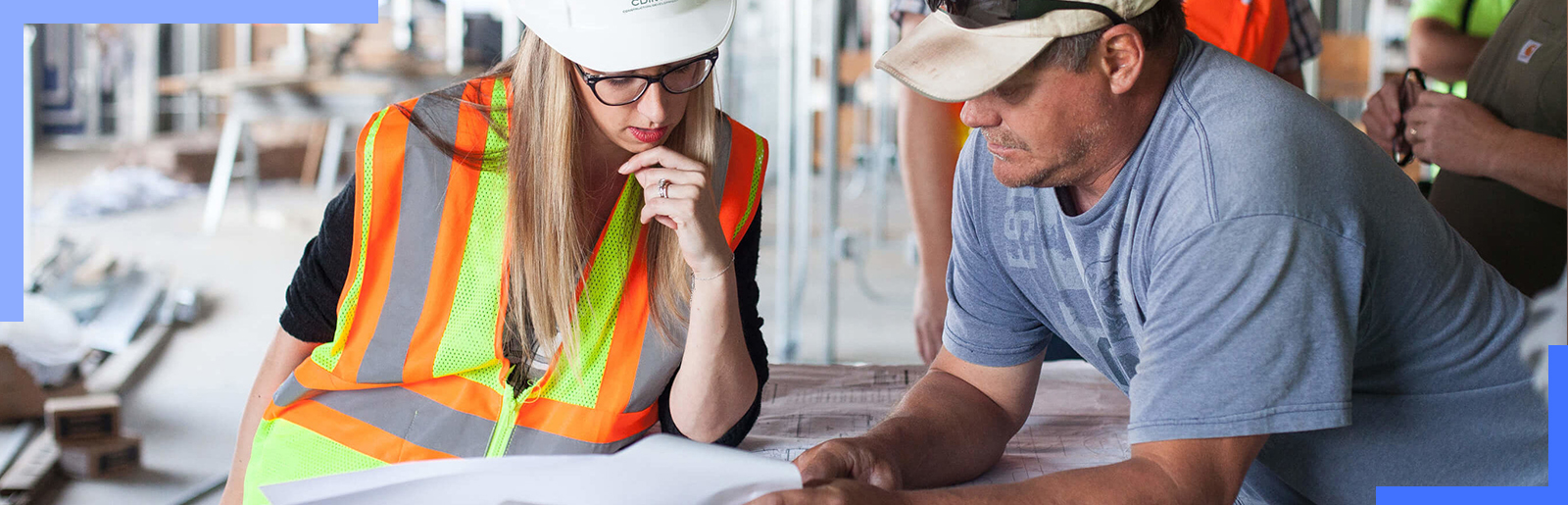 contractor calculating man-hour productivity on site