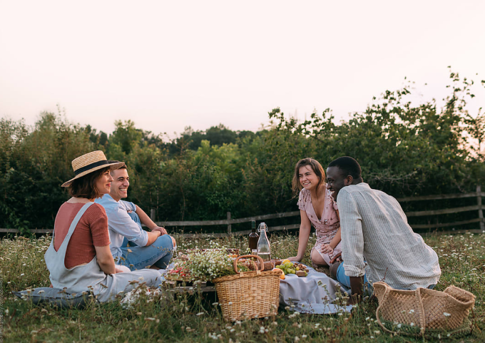 Two couples having an outdoor picnic.