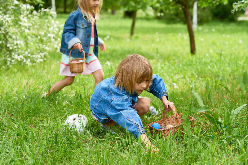 Easter egg hunt is a fun activity and is a bonding game.