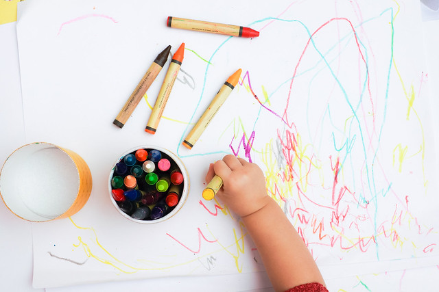 colouring with crayons fun arts and crafts activity