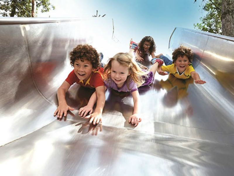 Sliding fun at Queen Elizaebeth Olympic Park
