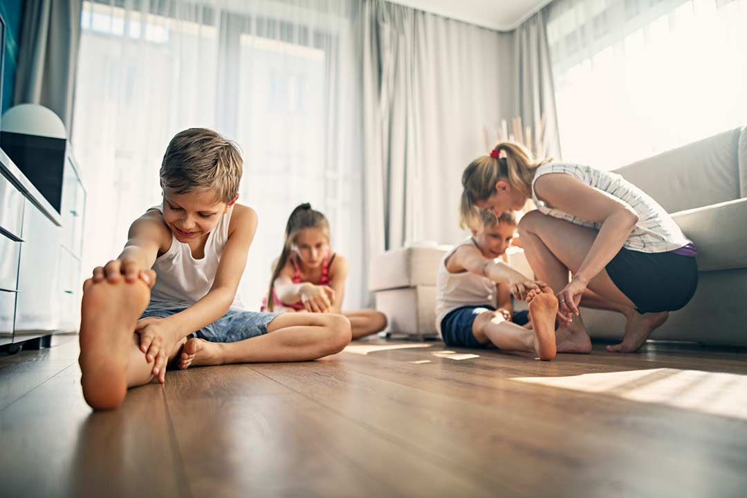 Family doing a workout at home.