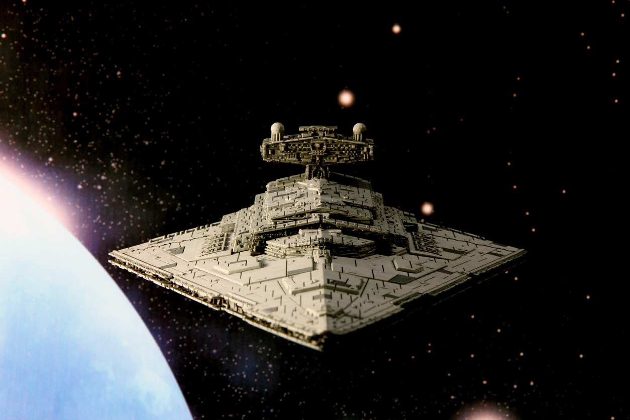 The Millennium Falcon flying through space.