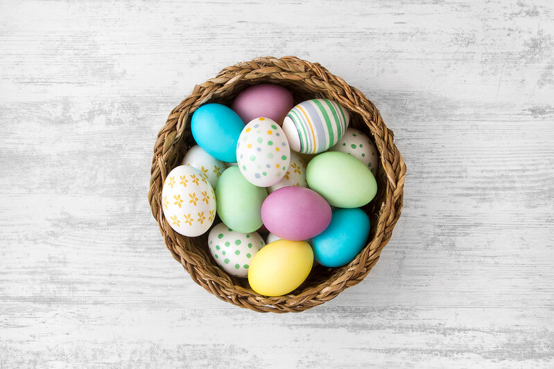 A basket of Easter eggs.