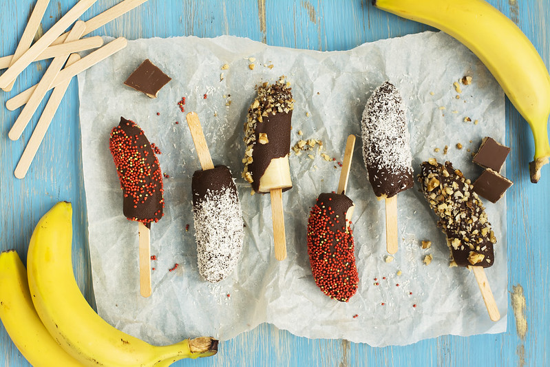 Frozen banana snack.