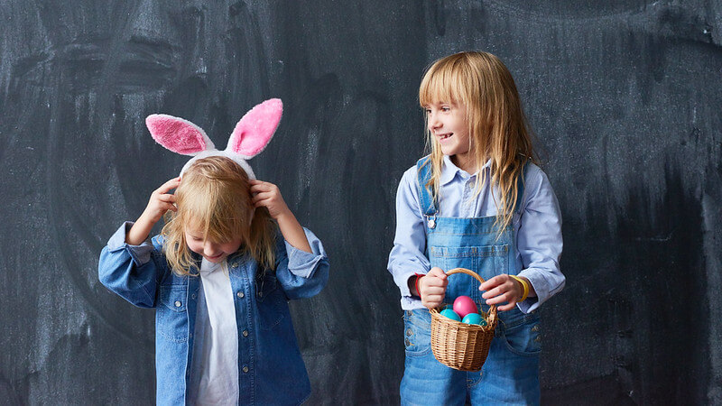 Dressing up for Easter with homemade crafts.