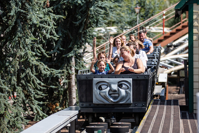 Families enjoy the Troublesome Trucks Runaway Rollercoaster