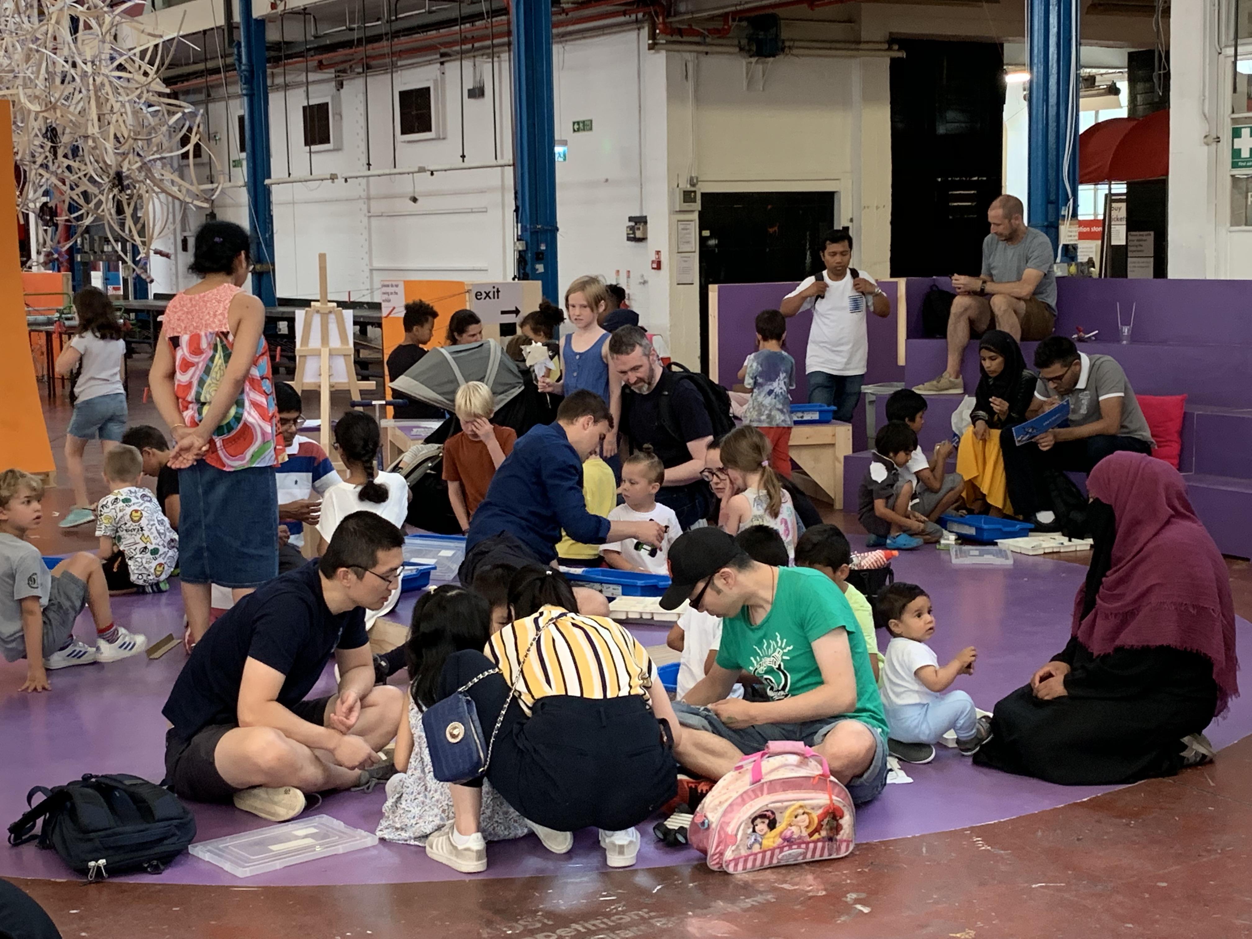 families working together at Mega Maker Lab