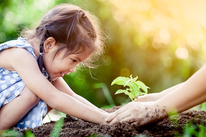Little girl learning how to plant a flower.