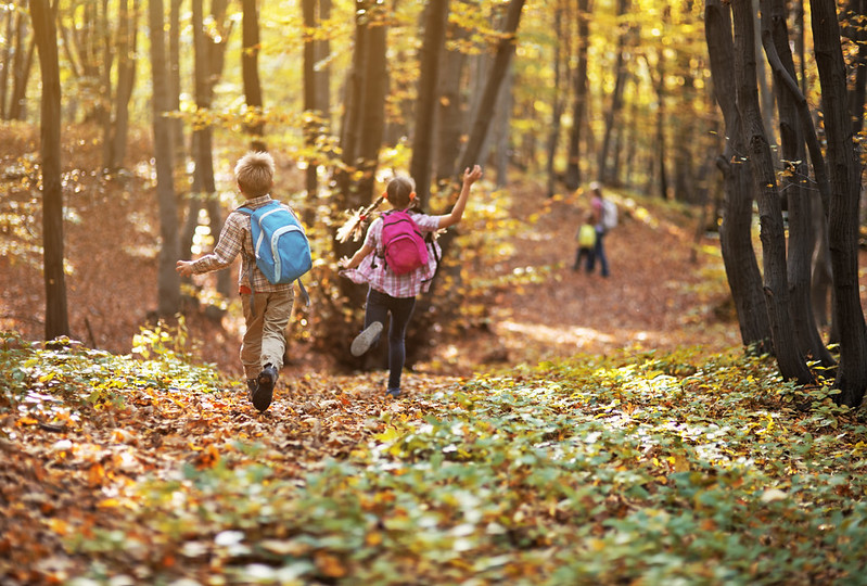 A family running through the woods ready to learn bushcraft.