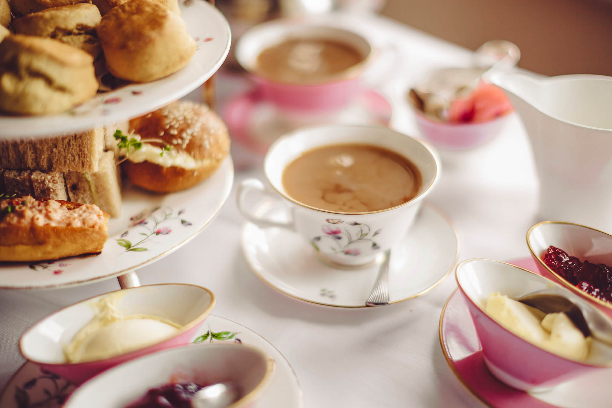 Afternoon tea laid out on a table.
