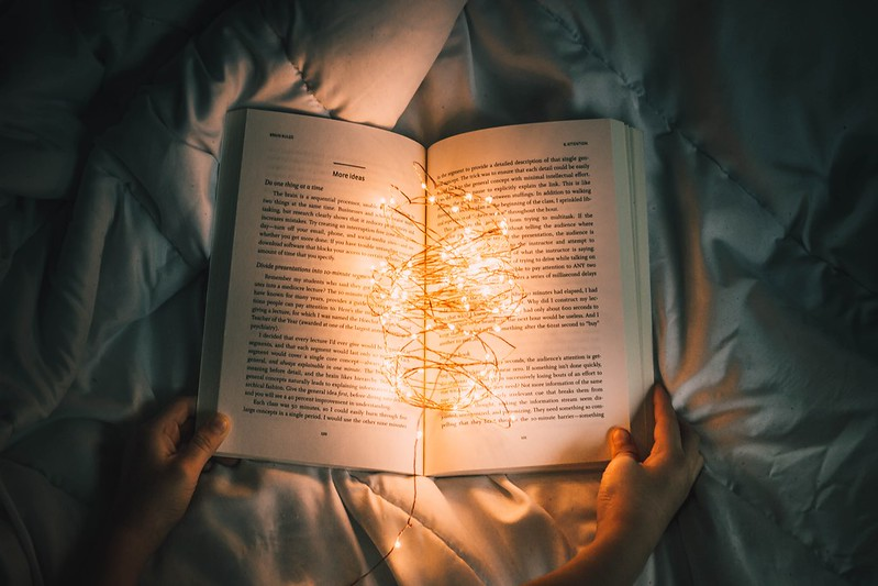 An open book with fairy lights.