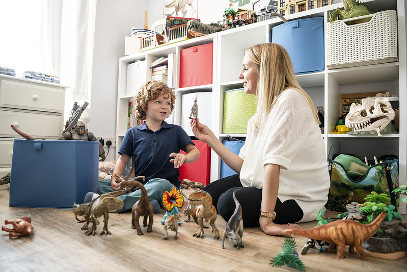 Making dinosaur crafts and activities