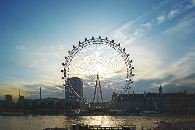 The London Eye with the sun setting